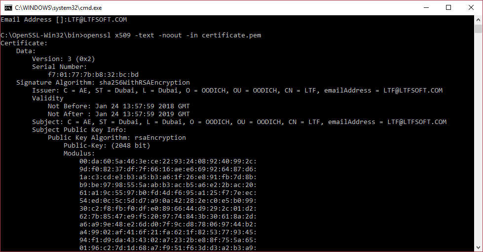 Generating a self-signed certificate using OpenSSL